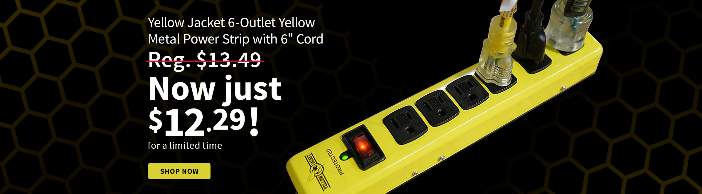 Yellow Jacket 6-Outlet Yellow Metal Power Strip with 6 Ft. Cord