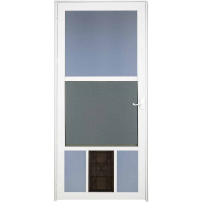 Larson Metal Tech 36 In. W x 81 In. H x 1-1/4 In. Thick White Classic View Storm Door With Pet Door