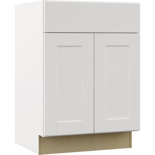 Continental Cabinets Andover Shaker 24 In. W x 34-1/2 In. H x 21 In. D White Vanity Base, 2 Door