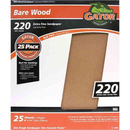 Gator Bare Wood 9 In. x 11 In.. 220 Grit Extra Fine Sandpaper (25-Pack)