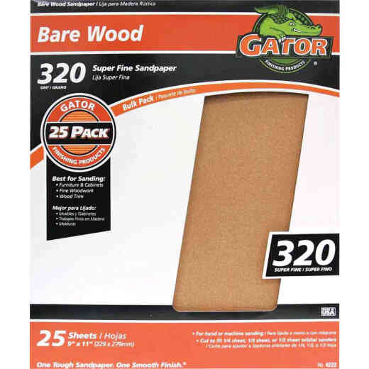 Gator Bare Wood 9 In. x 11 In. 320 Grit Extra Fine Sandpaper (25-Pack)