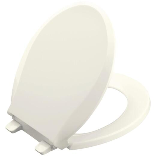 Kohler Cachet Quiet-Close Round Closed Front Biscuit Plastic Toilet Seat w/Grip-Tight Bumpers