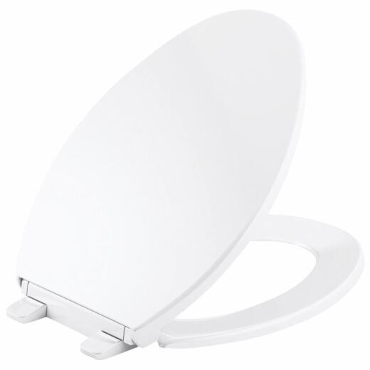 Kohler Brevia Quick-Release Elongated Closed Front White Plastic Toilet Seat