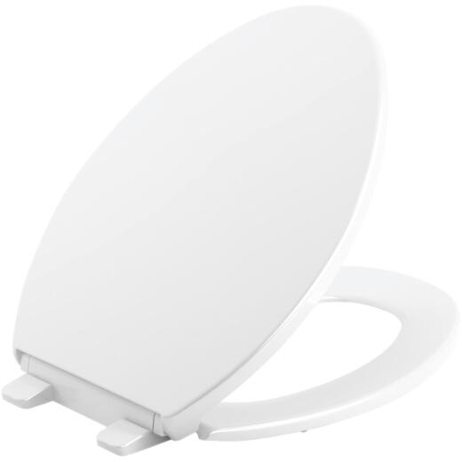 Kohler Brevia Quiet-Close Elongated Closed Front White Toilet Seat with Grip-Tight Bumpers