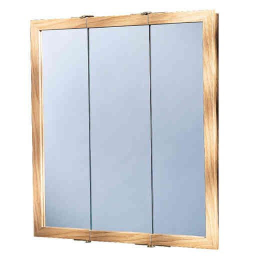 Zenith Oak 24 In. W x 26 In. H x 4-1/2 In. D Tri-View Surface Mount Medicine Cabinet