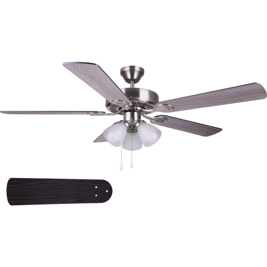 Home Impressions Villa 52 In. Brushed Nickel Ceiling Fan with Light Kit