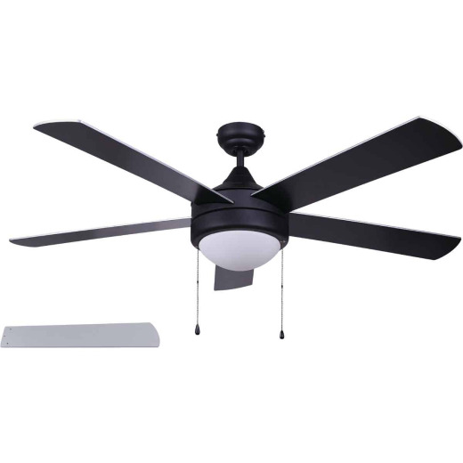 Home Impressions Preston 52 In. Black Ceiling Fan with Light Kit